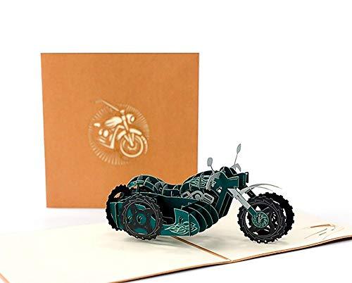 DEESOSPRO® 3D Pop Up [Geburtstagskarte] [Grußkarte] [Jubiläumskarte] [Abschlusskarte] mit Kreativem Papierschnittmuster, Geschenk zum Geburtstag, Abschlussfeier, Weihnachten, Vatertag (Motorrad)