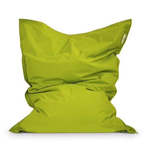 Green Bean Outdoor © Square XXL Garten Sitzsack 140x180 cm - 380 Liter EPS Perlen Füllung - waschbarer Bezug, mit Innensack - Terrasse Lounge, Balkon Bean Bag Chair - Kinder & Erwachsene - Grün