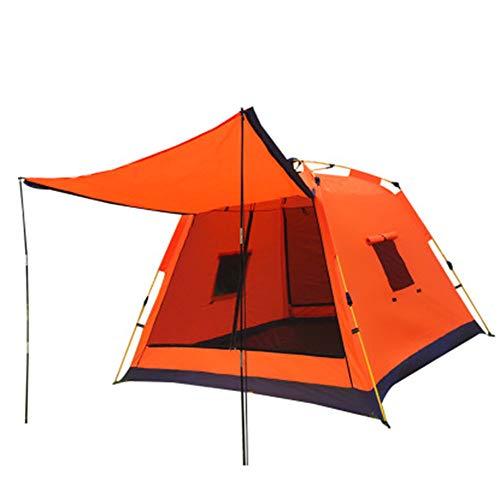 DOLA Tragbar Camping Zelte Für 3-4 Personen, Wasserdichtes Winddichtes Außenzelt mit Sonnenschutz UV-Schutz,Orange