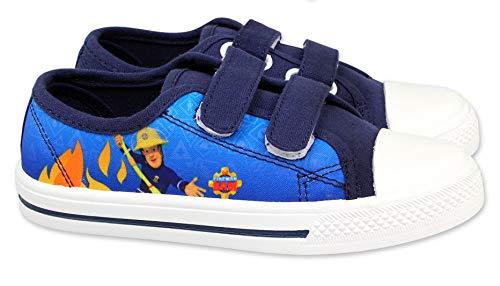Coole-Fun-T-Shirts Feuerwehrmann Sam Kinderschuhe Jungen + Mädchen Sneakers Hausschuhe geschlossen Klettverschluss rutschfeste Sohle Schuhe 24 25 26 27 28 29 30 Blau Gr.30
