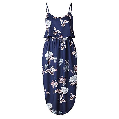 Warm Room Dames mouwloze zomerjurk met spaghettibandjes, nonchalant, zomermode 14-kleurig bedrukte jurk, onregelmatige jurk