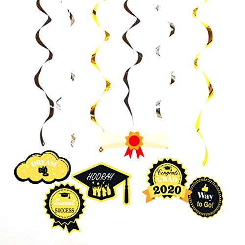 PRETYZOOM 12 Piezas Graduación Colgante Remolino Decoraciones Banner Grad Guirnalda Felicidades Banner Fiesta de Graduación Suministros