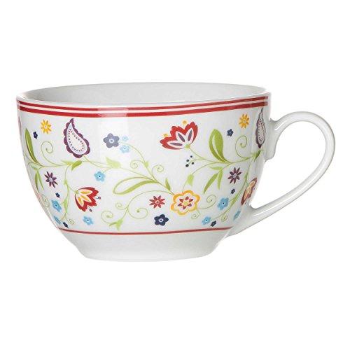 Kaffeetasse 'Shanti Doppio' 200ml, Porzellan, weiß mit Paisley-Muster (1 Stück)