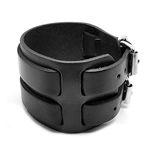 BOBIJOO Jewelry - Bracelet De Force Homme Cuir Marron Noir Acier Métal Double Rang Ceinture Vintage - (Couleur) Noir