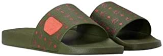 MCM Women's Monogram Moss Green Rubber Slides 3MES9AMM75G8036