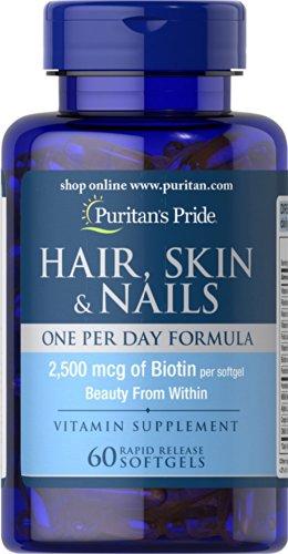 hair skins Puritan's Pride Hair Skin Nails One Per Day Formula60 Softgels, 60 Count (55554)