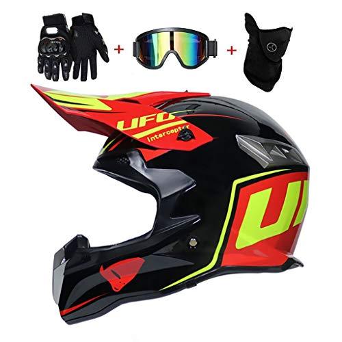 Adulto Motocross Casco Trajes, con Gafas Máscara Guantes, Hombres Mujer Motocicleta Off-Road Enduro Cuesta Abajo Casco ATV MTB Patio Bici de La Suciedad Cara Completa Estrellarse Casco, D.O.T Certific