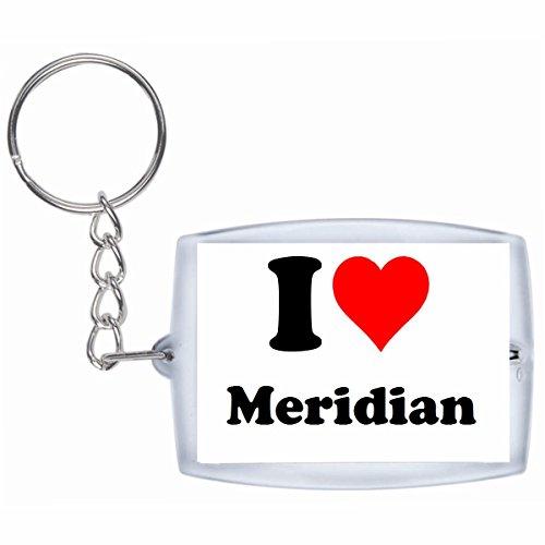 Druckerlebnis24 Schlüsselanhänger I Love Meridian in Weiss - Exclusiver Geschenktipp zu Weihnachten Jahrestag Geburtstag Lieblingsmensch