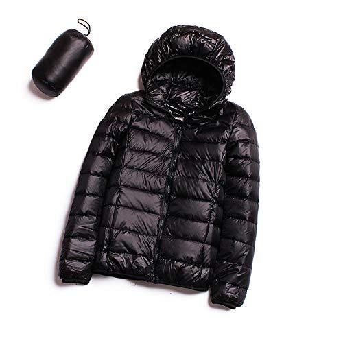 ADXD Leichte Daunenjacke Damen Daunenjacke mit Kapuze Kurz Damen Winter XL Jacke, schwarz, X-Large