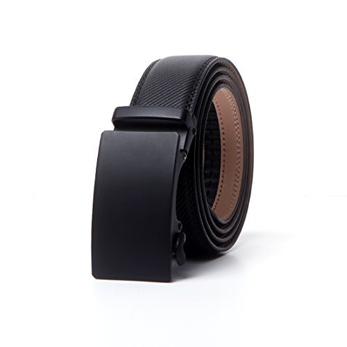 """CHAOHONG Men's Black Leather Casual black Leather belt long belts for plus size men belts for men big and tall, Black3, Waist Size-42""""--52"""""""