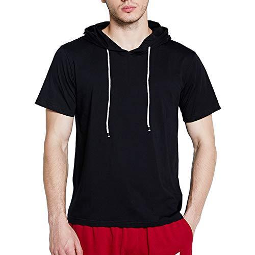 AOTORR Herren-T-Shirt mit Kapuze, Leichter Pullover, kurzärmlig, Sport-Sweatshirt, Casual Gr. S, Schwarz
