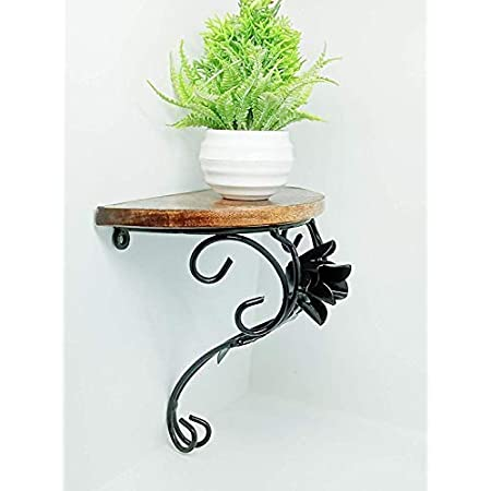 Wooden & Iron Wall Bracket/Shelf for Living Room & Home Decor