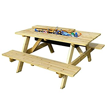 Merry Garden Cooler Wooden Picnic Table and Bench Kit Outdoor Patio Dining Table Natural