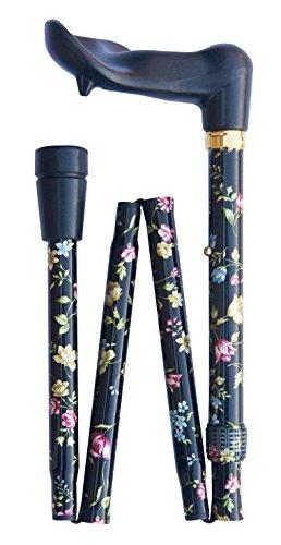 Bastón ortopédico plegable ajustable - (82-92 cm) negro floral derecho 4671R