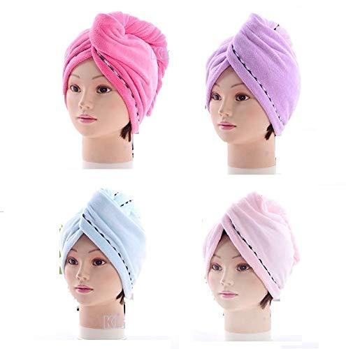 King's deal 4Packs Hair Turban Microfiber Hair Drying Towel Bath Head Wrap Turban Quick Dry Hat Cap New (4Packs)