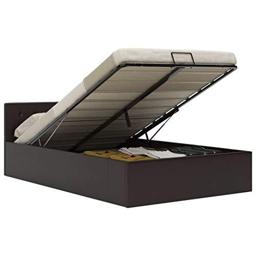 Irfora Hydraulisk förvaring säng dubbelsäng ram stoppad säng lamellram vit/grå konstläder 90 x 200 cm/160 x 200 cm/140 x 200 cm