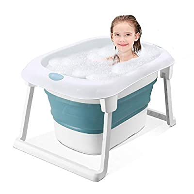 3-in-1 Baby Bath Tub Portable Toddler Collapsible Bathtub Infant Shower Basin Anti Slip Skid Proof (Blue, tub)