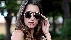 Ultra Silver Frame Black Lenses Flip Up Round Steampunk Sunglasses Steampunk Goggles Retro Mens Womens UV400 Cyber Gothic Circle Glasses Aesthetic Circle Sunglasses Steampunk Accessories #4