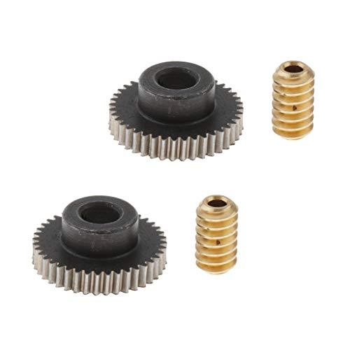 Almencla 2er Pack 0,5 Modul Schneckenrad aus Messing, Schneckenwelle, Zahnwellen 40 Zähne Schnecken-Zahnrad