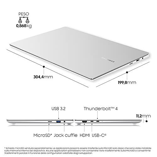 Samsung Galaxy Book Pro Laptop, Intel Core i5 di undicesima generazione, Piattaforma Intel Evo, 13,3 Pollici, Windows 11 ready, 8GB RAM, SSD 512GB, Colore Mystic Silver