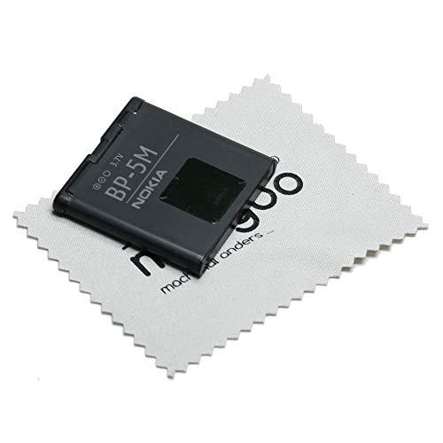 Akku für Nokia Original BP-5M für Nokia 5610, 5700, 6110 Navigator, 6220 Classic, 6500 Slide, 7390, 8600 Luna mit mungoo Bildschirmputztuch