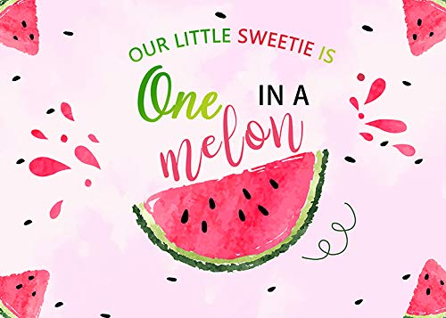 Watercolor Summer Fruit Watermelon Theme One in a Melon Photography Pink Melon Backdrop Vinyl 7x5ft Girl Birthday Party Cake Table Decoration Photo Background Studio Booth Props Banner