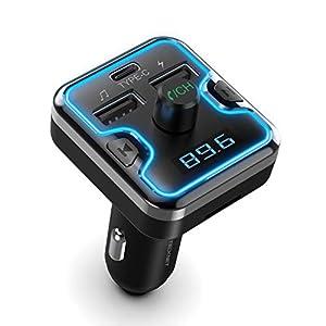 TECKNET Transmisor FM Bluetooth 5.0 Bluetooth Coche Mechero con PD 3.0 18W Carga Rápida, 7 LED Colores, Reproductor MP3 Adaptador, Llamadas Manos Libres Soporte Tarjeta TF & USB Disk