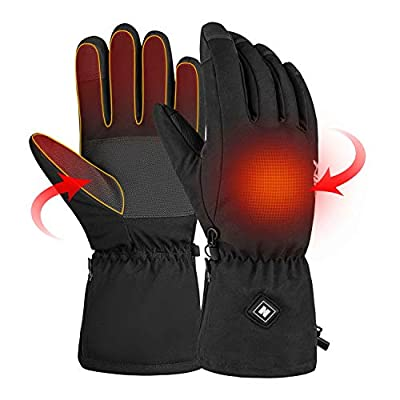 [Upgrade] Winter Heated Gloves for Men Women, Rechargeable Battery Touchscreen Warm Thermal Hand Warmer Gloves, Electric Heating Ski Gloves for Outdoor Work Climbing Hiking Cycling Fishing-L