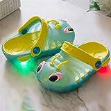 Kinder LED-Sommer-Hausschuhe für Garten, Strand, leuchtende Beleuchtung, Sneaker, Sandalen, Schwimmbad, Dusche, Kleinkind, Cartoon-Schuhe (Größe: 24, Farbe: blau)