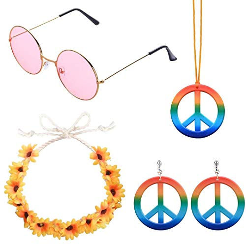 ABOAT 4 Pieces Hippie Costume Set Includes 1 Sets Rainbow Peace Sign Necklace and Earrings, 1 Piece Sunflower Headband and 1 Pair of Hippie Sunglasses (A Pink)