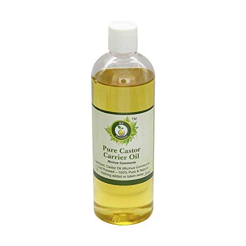 Aceite de ricino | Ricinus communis | El aceite de ricino prensado en frío | Para el crecimiento del pelo | 100% natural puro | Prensado en frío | Castor Oil |100ml | 3.38oz By R V Essential