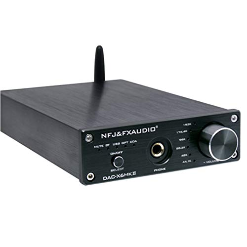 FX Audio DAC-X6 MKII Verstärker ESS9018 TPA6120 Chip Bluetooth 5.0 APTX SPDIF Koaxialer PC-USB RCA DAC Decoder (Schwarz)