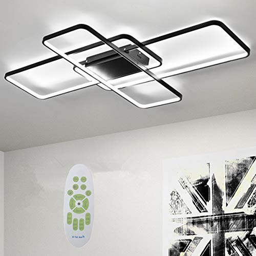 Deevin Moderna Lámpara LED De Techo Para Salón Regulable Pantalla De Acrílico Lámpara De Techo De Diseño Lámpara De Comedor Con Mando A Distancia,Lámpara Colgante Cocina,Negro,140 * 80cm