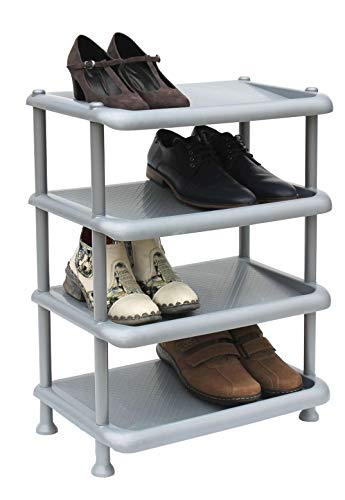 DanDiBo Schuhregal Kunststoff 93873 Stapelbar Schuhablage Offen Schuhständer mit 4 Ebenen Grau Schuhschrank