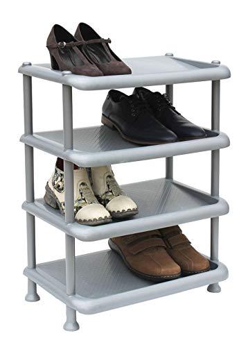 DanDiBo Schuhregal Kunststoff 93873 Stapelbar Schuhablage Offen Schuhständer mit 4 Ebenen Grau...