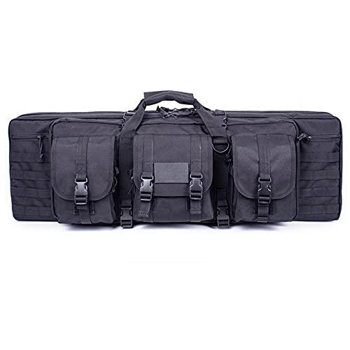 Bolsa para Doble Rifle, Bolso Táctico de Oxford Impermeable para Fusil Escopeta Larga, Compartimiento con Cierre para Cargador Munición Accesorios (Color : Black, Size : 93cm)
