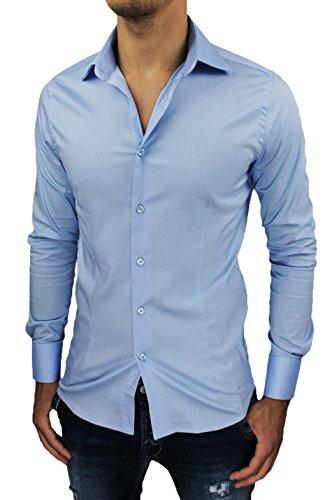 Camicia Uomo Sartoriale Celeste Slim Fit Aderente Nuova Casual Elegante (M, Celeste)