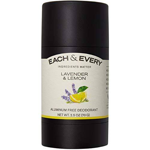 Each & Every Natural Aluminum Free Deodorant for Women and Men, Cruelty Free Vegan Deodorant with Essential Oils, Non-Toxic, Paraben Free, Lavender Lemon, 2.5 Oz.