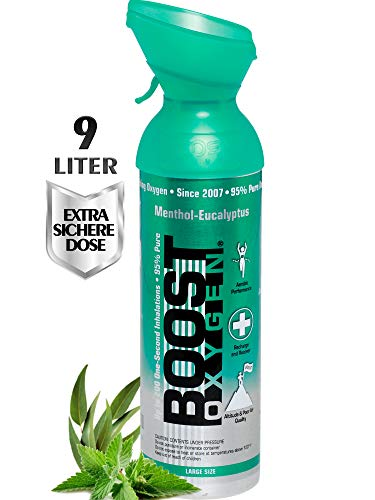 Boost Oxygen Menthol Eucalyptus, Oxygen Canister, 9 litres, Made in USA