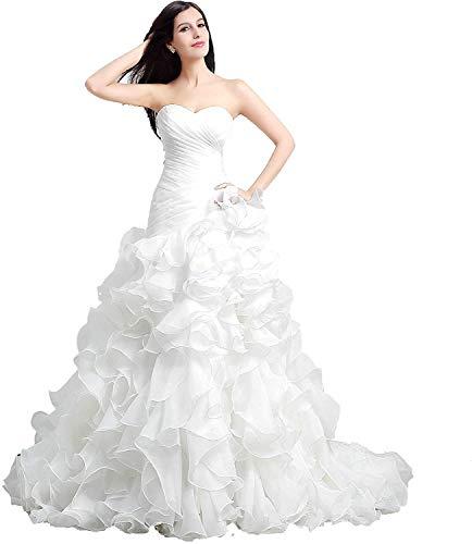 CGown Sweetheart Ausschnitt Rüschen Rüschen Meerjungfrau Hochzeitskleider für Braut mit Zug Schnürung Braut Ballkleid Gr. 46, weiß