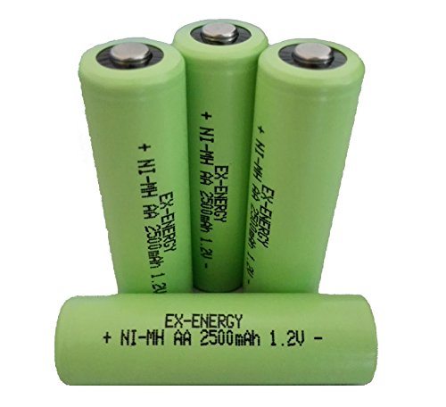 EX-ENERGY AA 1.2V 2500mAh LSD Button top NiMH Rechargeable Batteries 4 Pack