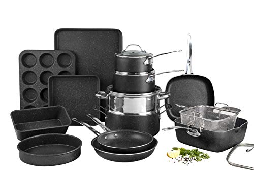 Granite Stone Pots and Pans Set 20 Piece Complete Cookware  Bakeware Set with Ultra Nonstick 100% PFOA Free Coating–Includes Frying Pans Saucepans Stock Pots Steamers Cookie Sheets amp Baking Pans