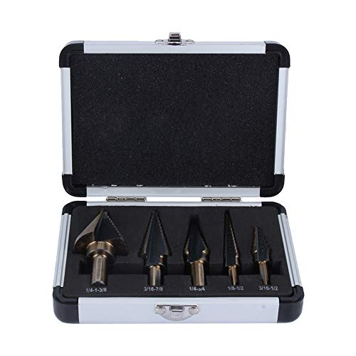 5pcs HSS Step Cone Drill Bit Set with 5 Metric Sizes, Ti Coated Cone Drill Bits Hole Cutter with Aluminum Case for Wood Stainless Steel Sheet Metal