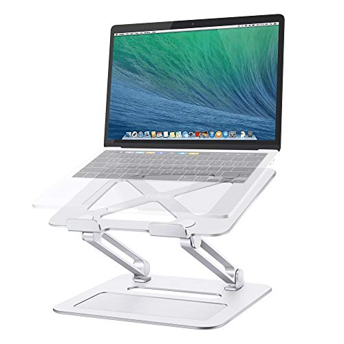 "Laptop Stand - TRUNIUM Adjustable Ergonomic Aluminum Laptop Holder Stand for Desk Compatible for 10-15.6"" MacBook, Lenovo, HP, Dell, Samsung, and More Laptops (Silver)"