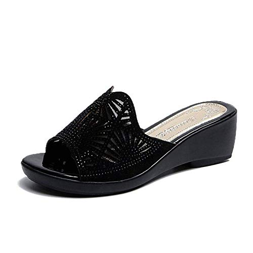 Antiskid Bathroom Slipper Flip Flops,Women's mid-heel heightening mother shoes with rhinestone flip-flops-black_41,House mule soft foams fangkai77