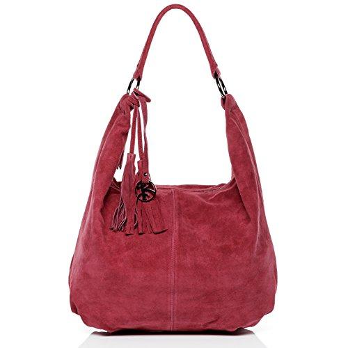 BACCINI Beuteltasche echt Wildleder Selina groß Hobo Bag Schultertasche Ledertasche Damen pink