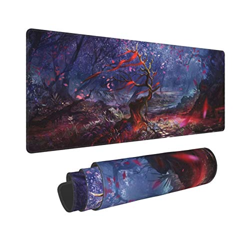 CVROY Anime Gaming Mouse Pad Large Office Desk Mat Non-Slip Waterproof Long Laptop Mat Illusion Cherry Blossoms Trees Landscape