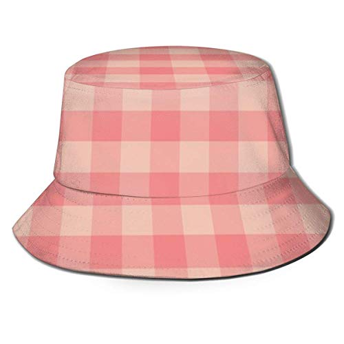 Peachy Pinks Buffalo Plaid Unisex Fashion Print Bucket Hat Summer Fisherman Cap Packable Outdoor Sun Hat Hiking, Beach, Sports