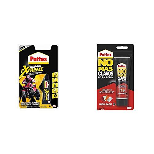 Pattex Repair Extreme, pegamento con resistencia extrema, 1x8 g & Pattex No Mas Clavos Para Todo HighTack, adhesivo de montaje blanco, 1 tubo x 142 g
