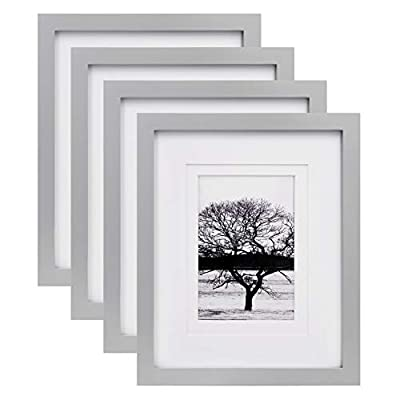 Egofine 8x10 Picture Frames 4 Pack, for Picture 4x6 or 5x7 Whit Mat Made of Solid Wood for Table Top Display and Wall Mounting Photo Frame, Light Gray